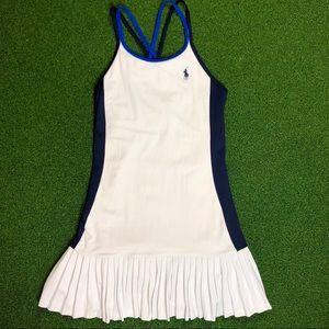 Ralph Lauren White And Blue Poplin Tennis Dress